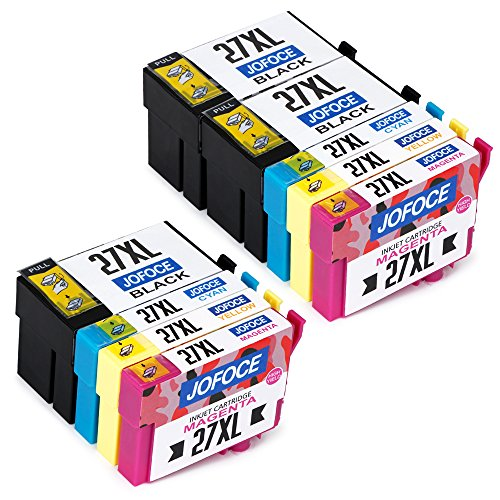 Jofoce Sostituzione per Epson 27 27XL Cartucce d'inchiostro, Compatibile con Epson Workforce WF-3620DWF WF-3640DTWF WF-7610DWF WF-7110DTW WF-7620DTWF Stampante (3 Nero, 2 Ciano, 2 Magenta, 2 Giallo)