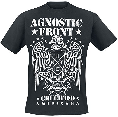 Americana T-shirt Aus Baumwolle (Agnostic Front Americana T-Shirt Schwarz M)