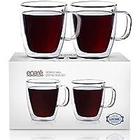 Juego de tazas Eparé con aislamiento para café (12 oz, 350 ml); taza de vidrio de doble pared; taza para beber té, latte, espresso, jugo o agua; 2 tazas