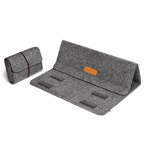 Inateck 13,3 Zoll Sleeve mit Stand-Funktion für MacBook Air/Pro Retina/12,9 Zoll iPad Pro Case Gehäuse Hülle Ultrabook Netbook Laptop Tablet PC-Dunkelgrau (9 Pc Case Tablet)