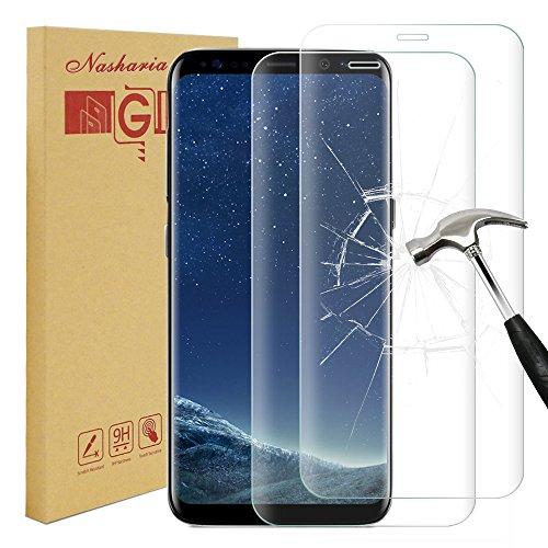 [2 Stück] Galaxy S8 Plus Schutzfolie Displayschutz, Nasharia 9H Härtegrad, 99% Transparenz Full HD, Anti-Fingerabdruck Hohe Qualität Gehärtetem Glass, Anti-Kratzer Displayschutzfolie für Samsung Galaxy S8 Plus