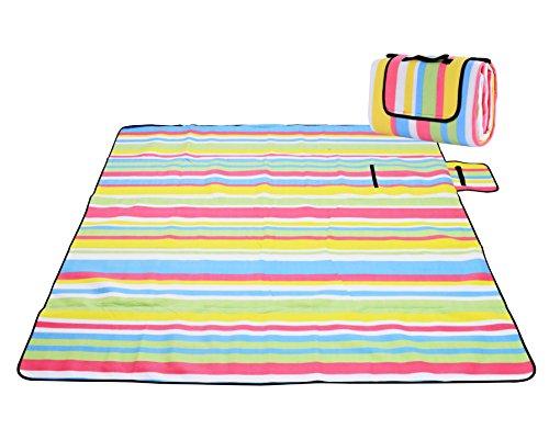 Honeystore Flanell Wasserdichte Yoga Matte Strand Ausflug Picknickdecke Mit Tragegriff 200*150 CM Regenbogen Streifen