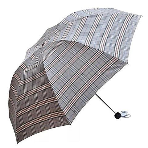 GT Umbrella Manual Fashion 3-Folding Umbrella Creative, Lattice Rain Umbrella Sturdy Windproof Anti-UV Sunscreen Umbrella