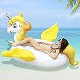 HooYL Inflable Flotador de Piscina, Hinchables Colchonetas Salvavidas Flotador Gigante Unicornio con Alas Juguete de Piscina para Adultos y Niños (270X220X130cm, Amarillo)