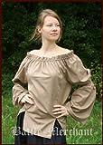 Chemisier long pour femme marron à lacets de style médiéval mittelalterbluse-lARP-carmen, XXXL