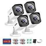 SANNCE 4-Pack 720P HD-TVI Security Camera with Smart IR -Cut Filter, Black&White, IP66 Weatherproof, Super Night Vision