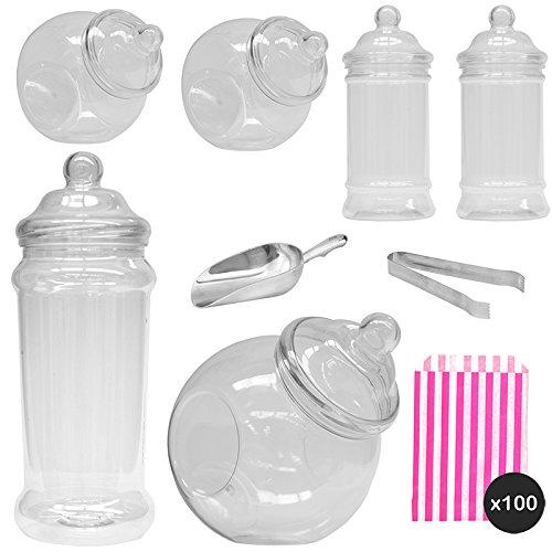 Vintage Viktorianischer Pick & Mix Candy Buffet Kit - 6 Jar Pack & Rosa Streifen Staubbeutel ... - Jar Candy Süßigkeiten