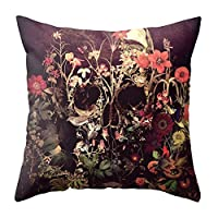 Bigherdez Halloween Skull Printed Fashionable Pillow Covers Home Office Bedroom Throw Pillowcase Decorative Pillow Cover