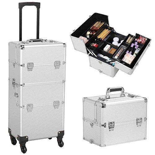 Yaheetech Trolley Kosmetikkoffer XL Schminkkoffer Leer Friseurkoffer Nail Art Koffer mit 4 Stück 360° Rollen, 3 in 1 Silber