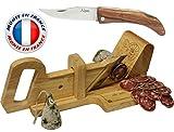Le Berger Affettatrice a ghigliottina per Salame + coltello pieghevole L'Alpin in legno di ulivo