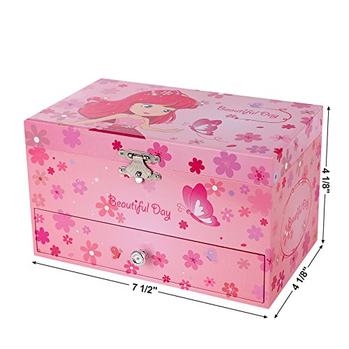 SONGMICS Musikspieldose, Spieluhr, Schmuckkästchen mit Schubladen und Spiegel, Aufbewahrung, Geschenk für Mädchen, rosa, JMC003PK - 6