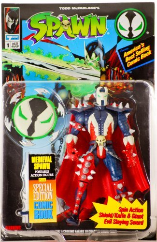 Spawn series 1 Medieval Spawn Action Figure by McFarlane Toys w/ comic by McFarlane Toys