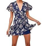 KIMODO Kleid Damen tiefem V-Ausschnitt Skater Minikleid Blumenmuster Kurzarm Partykleid Sommer Strandkleid Mode 2019