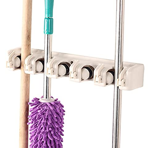 QLAN Broom Mop Holder Organizer Wall Mounted for Shelving Ideas 5 Position 6 Hooks