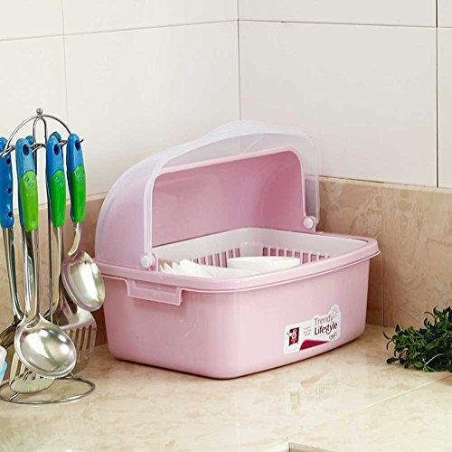 SSBY Accueil flip transparent, vidange d'Ajar, boîtes de rangement vaisselle Bol plastique étagères rack de rangement,Pink