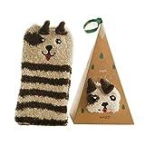 Tinksky Calcetines de lana de coral lindo calcetines animales de dibujos animados regalo de cumpleaños de invierno de navidad para hombres mujeres (perro)