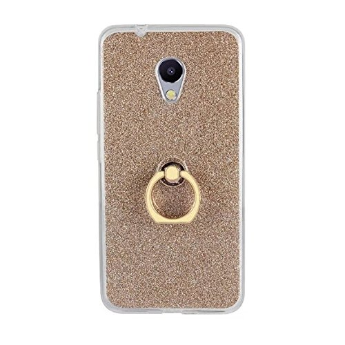 Soft Flexible TPU Back Cover Case Shockproof Schutzhülle mit Bling Glitter Sparkles und Kickstand für Meizu Meilan 5S M5s ( Color : Black ) Gold