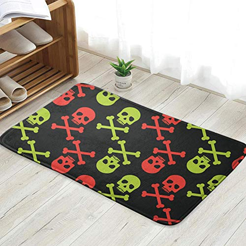 Nicegift Schädel Skelett Kunst personalisierte benutzerdefinierte Fußmatten Indoor/Outdoor Fußmatte Fußmatten rutschfeste Gummi Küche Teppiche 23,6 X 15,8 Zoll