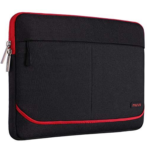 MOSISO Laptoptasche Kompatibel 13-13,3 Zoll MacBook Pro, MacBook Air, Notebook Computer mit 2 vorderen dekorativen Mock Pockets, Polyester Gewebe Hülle Sleeve Tasche Notebooktasche, Schwarz und Rot