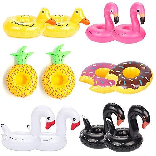 ANGTUO 12 STÜCKE Float Getränkehalter Flamingo Einhorn Schwan Aufblasbare Trinkbecher Float Boats Swimming Pool Bad Spielzeug für Pool Party und Wasser Spaß