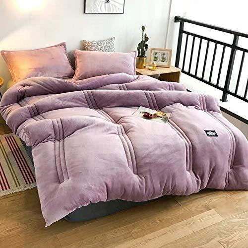 XY359e Daunendecke für Doppelbett/King-Size-Bett/Queen-Size, dick, warme Steppdecke für Zuhause/Hotel, bedrucktes Flanell, Winterdecke, Multi, 180x220cm 3kg