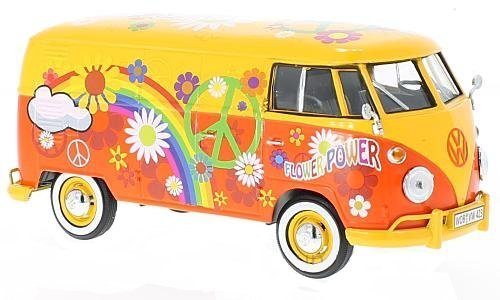 Motor Max 1:24 VW Volkswagen Type 2 T1 Delivery Van Flower Power Design (Motor Max-die Cast-autos)