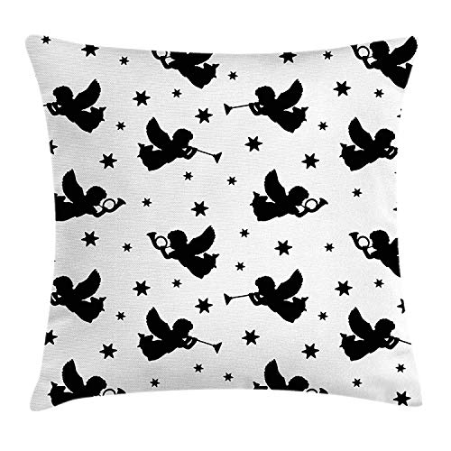 Angel Throw Pillow Cushion Cover, Cupid Icons with Trumpets Angels Sky Stars Fairy Xmas Season Yule Celebration Art, Decorative Square Accent Pillow Case, 18 X 18 inches, Black White