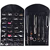 Ezigoo Jewellery Hanging Organiser Large Double-Sided Black - Ring Holder, Jewellery Tree and Earring Holder All In One!
