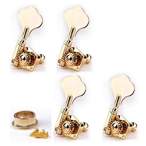 Musiclily 4-in-linea di basso aperto dell'annata Gear sintonizzatore chiavi di sintonia delle spine Machine Head mano destra per il Jazz P Bass Guitar Parts, Oro