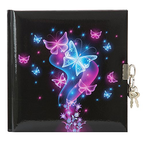 Goldbuch Tagebuch, Schmetterling, 96 weiße Seiten, Mit Schloss, Schwarz/Pink/Blau, 44577