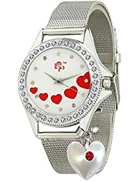 Dk LMP3 Valentine Special Love Pearl Heart Dangle Red Stones Studded Analogue Silver Chain Wrist Watch For Womens...