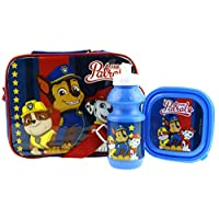 Kids Character 3 Piece Insulated Lunch Bag with Drink Bottle & Sandwich Box (Paw Patrol Boys)