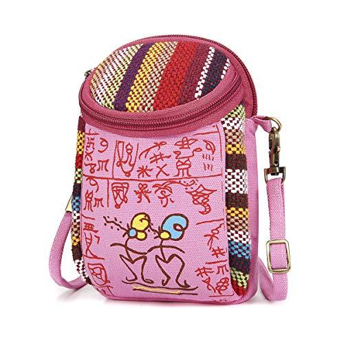 Galaxy Canvas Schulter Tasche (Handy Umhängetasche, JOSEKO Canvas Universal Handytasche zum Umhängen Geldbörse Kleine Tasche für Damen Frauen Mädchen Kinder iPhone 6 Plus 7 Plus Galaxy Note 5 4 S7 Edge Pink)