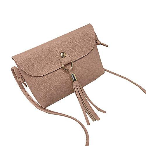 Tasche Bags Loveso Damen Mode Jung Niedlich Einfarbig Quaste Dekoration PU-Leder Mini Schultertasche Umhängetasche Handytasch (Grau) Rosa