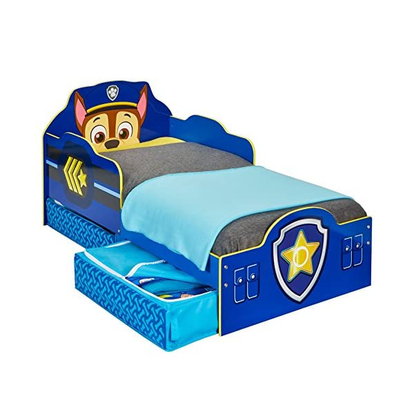 Paw Patrol Chase Kids Toddler Bed with Underbed Storage by HelloHome Paw Patrol Ideal transition from cot to bed - make the move to their first big bed magical with the Paw Patrol toddler bed with underbed storage from HelloHome, featuring Chase Takes cot bed size mattress - 140 (l) x 70 cm (w). Mattress not included. Assembled size (h) 68, (w) 77, (l) 145 cm Suitable for 18 months to 5 years, this blue kids bed is for your little Paw Patrol and Chase fan 1