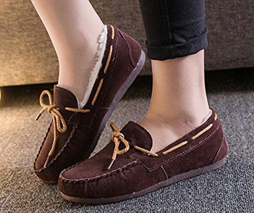 Damen Wildleder-Optik Gefürrterte Loafers Weiche Warme Slippers Einfarbig Flache Mokassins Braun