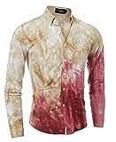Versaces Männer Hemd Mode Färben von 3D-Krawatten Drucken Schräge Naht Lange Ärmel Hemd, Color 1, XL