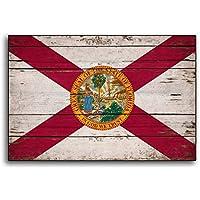 Enid18Bru Flags - Bandera de Madera de Florida con Banderas rústicas de Miami Orlando