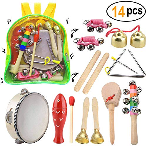 Musical Instruments Set, Wooden Toddler Musical Toys 14PCS Baby Musical Instruments Set Education Percussion Toys Gift for Kids with Storage Backpack