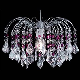 Dove Mill Lighting Lustre fontaine en chrome et acrylique avec pendeloques Violet / transparent