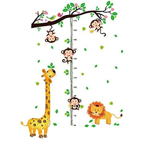 Giraffe Löwe Affe Spiel auf dem Baum Zweig Wachstum Diagramm Wandtattoos Kinderzimmer Babyzimmer Height Chart Wandsticker (Giraffe Wachstum Chart Wandtattoo)