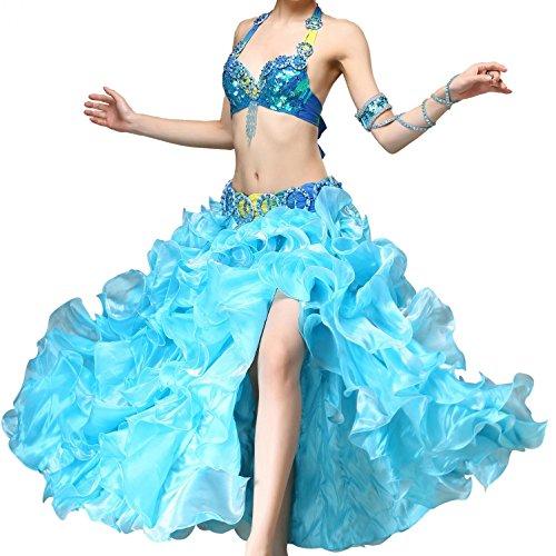 Beaded Pailletten Belly Dance Kostüm für Frauen Professional Performance Dress begrenzen Bra Gürtel Skirt 3 PCs , blue (Street Jazz Dance Kostüme)