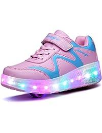 a79c9d467 Unisex Niños LED Roller Zapatos Skate Ajustable Rueda Automática Parpadea  Zapatillas Skateboard Gimnasia Deportes Zapatos para