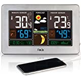 FanJu FJ3378S Estación Meteorológica a Color con Cargador USB | Temperatura y Humedad Exterior en Interiores | Fase Lunar | Reloj Meteorológico Reloj con Sensor Exterior