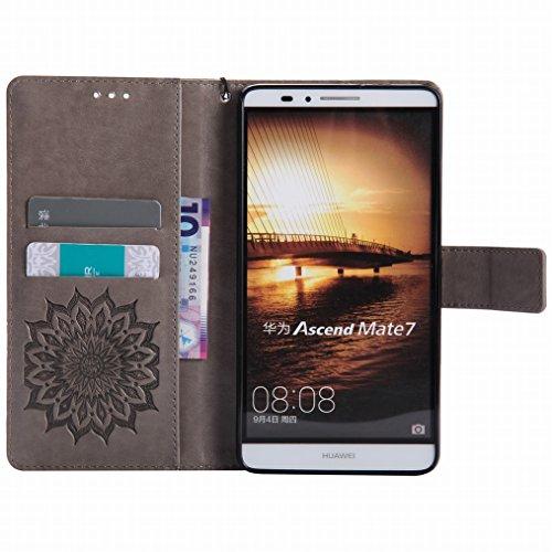 LEMORRY Huawei Ascend Mate7 Custodia Pelle Cuoio Flip Portafoglio Borsa Sottile Bumper Protettivo Magnetico Morbido Silicone TPU Cover Custodia per Huawei Ascend Mate7, Fiorire Rosa Grigio