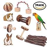 7pcs petits animaux de compagnie jouets à croquer pin naturel en bois monocycle rouleau exercice haltère soins des dents molaire jouet pour hamster cobaye lapins chinchilla