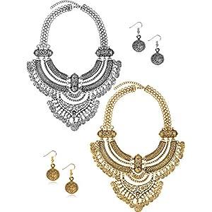 2 Packungen Münze Halskette und Ohrringe Punk Ethnic Style Schmuck Set Bib Bohemian Boho Aussage Halskette für Damen