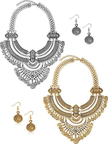 2 Packungen Münze Halskette und Ohrringe Punk Ethnic Style Schmuck Set Bib Bohemian Boho Aussage Halskette für Damen (Gold und Silber)