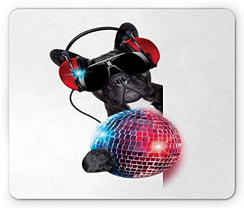 Music Mouse Pad, DJ Bulldog Listening to Music with Vivid Disco Ball Puppy Enjoy Party, Standard Size Rectangle Non-Slip Rubber Mousepad, Charcoal Grey Red Magenta (Red Disco Balls)