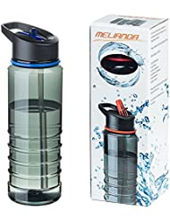 MELIANDA MA-7100 leichte 750 ml Trinkflasche mit Trinkhalmsystem BPA-Frei